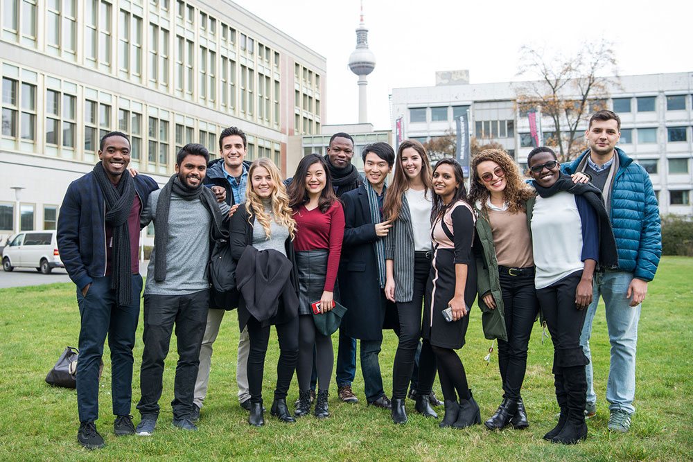 group of students gathered in Berlin